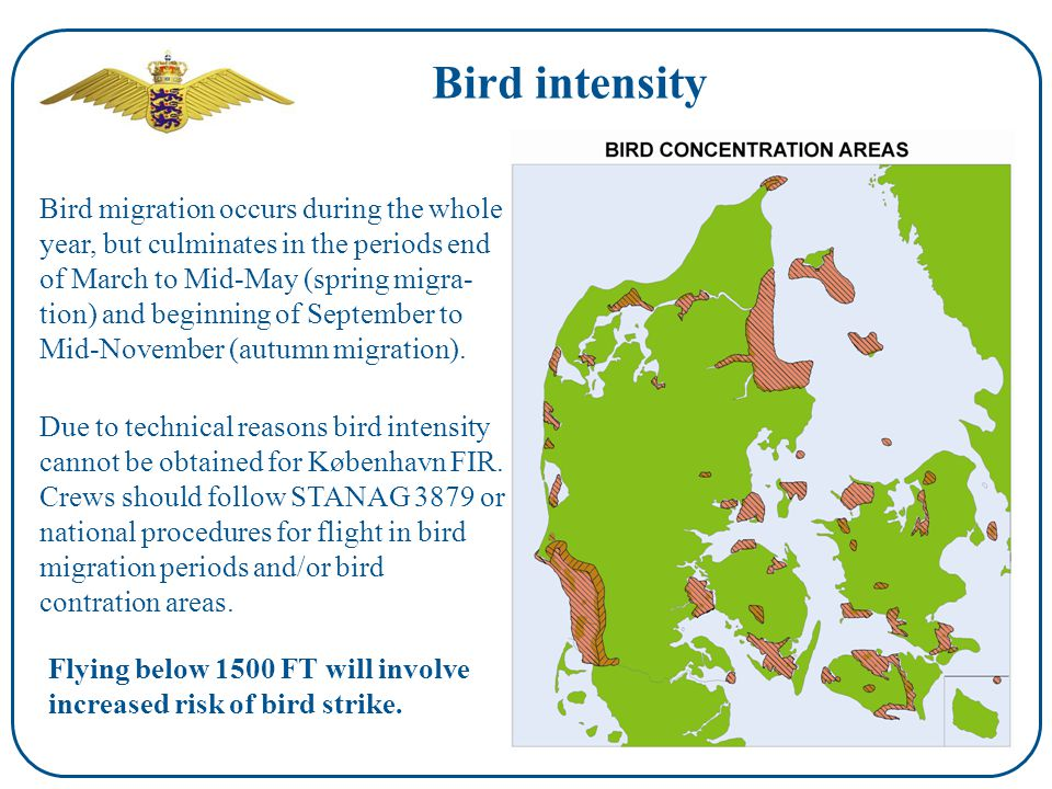Bird intensity Bird migration occurs during the whole year, but culminates in the periods end of March to Mid-May (spring migra- tion) and beginning of September to Mid-November (autumn migration).