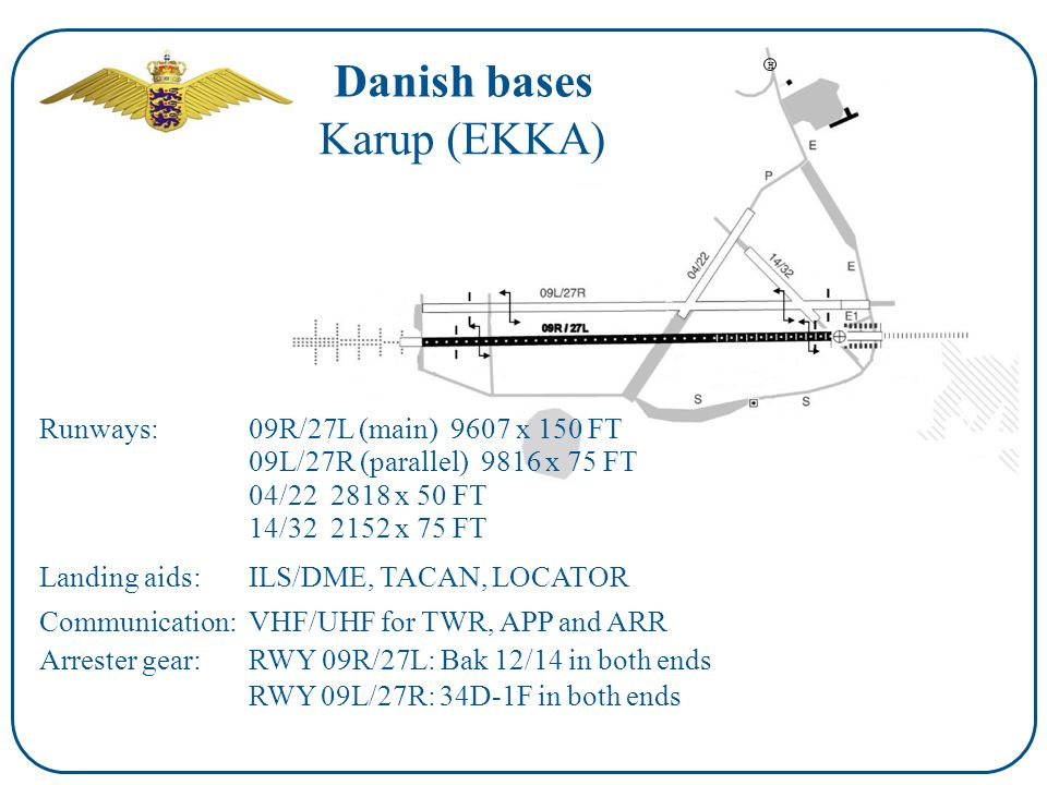 H Danish bases Runways: Landing aids: Communication: Arrester gear: Karup (EKKA) 09R/27L (main) 9607 x 150 FT ILS/DME, TACAN, LOCATOR VHF/UHF for TWR, APP and ARR RWY 09R/27L: Bak 12/14 in both ends 09L/27R (parallel) 9816 x 75 FT 04/22 2818 x 50 FT 14/32 2152 x 75 FT RWY 09L/27R: 34D-1F in both ends