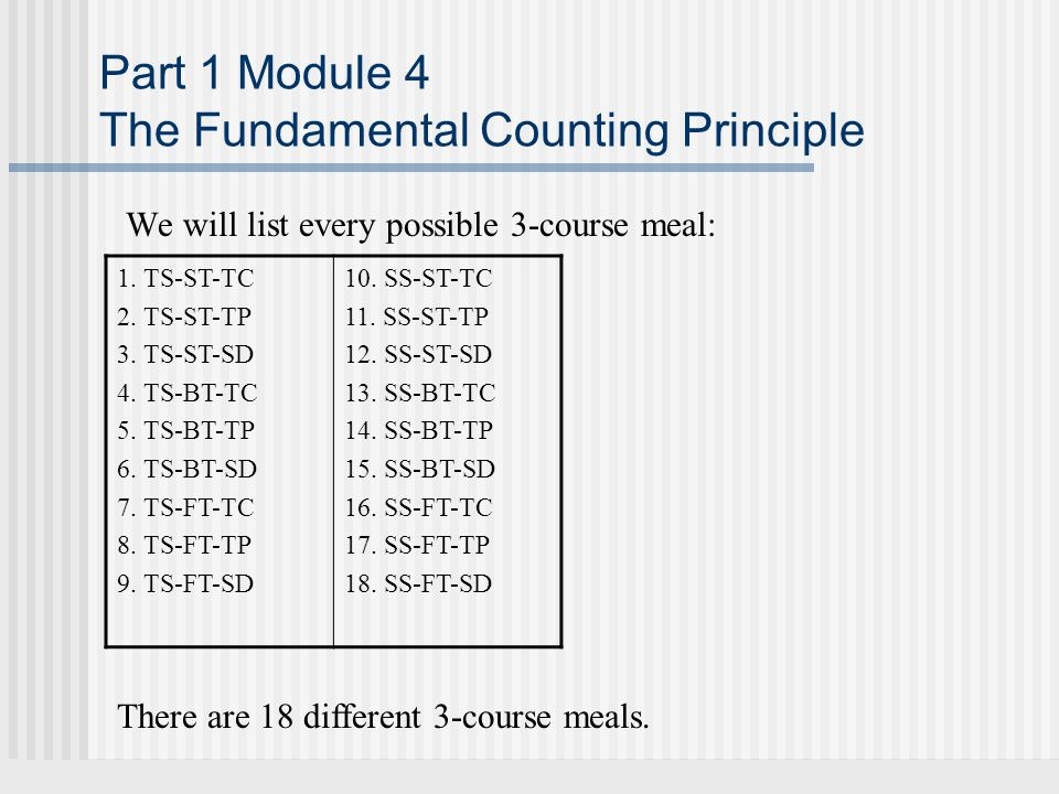 Part 1 Module 4 The Fundamental Counting Principle We will list every possible 3-course meal: 1.