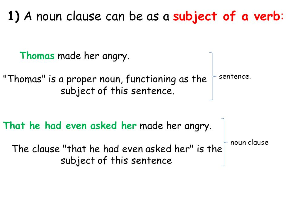 2) A noun clause can be as a direct object: We discovered his arrogance.