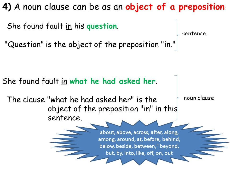 4) A noun clause can be as an object of a preposition : She found fault in his question.