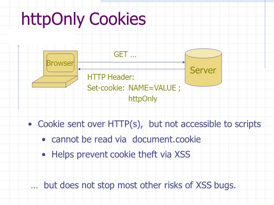 httpOnly Cookies Browser Server GET … HTTP Header: Set-cookie:NAME=VALUE ; httpOnly Cookie sent over HTTP(s), but not accessible to scripts cannot be read via document.cookie Helps prevent cookie theft via XSS … but does not stop most other risks of XSS bugs.