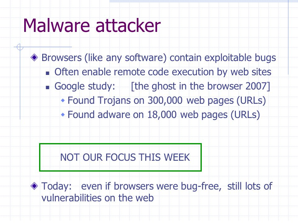 Malware attacker Browsers (like any software) contain exploitable bugs Often enable remote code execution by web sites Google study: [the ghost in the browser 2007]  Found Trojans on 300,000 web pages (URLs)  Found adware on 18,000 web pages (URLs) NOT OUR FOCUS THIS WEEK Today: even if browsers were bug-free, still lots of vulnerabilities on the web