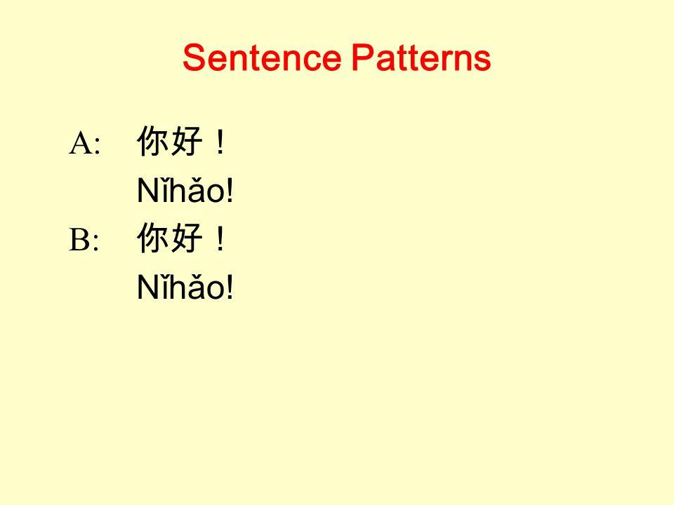 Sentence Patterns A: 你好! Nǐhǎo! B: 你好! Nǐhǎo!