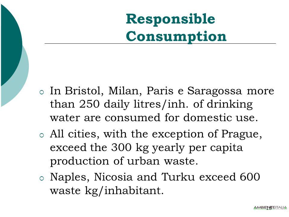 18 Responsible Consumption  In Bristol, Milan, Paris e Saragossa more than 250 daily litres/inh.