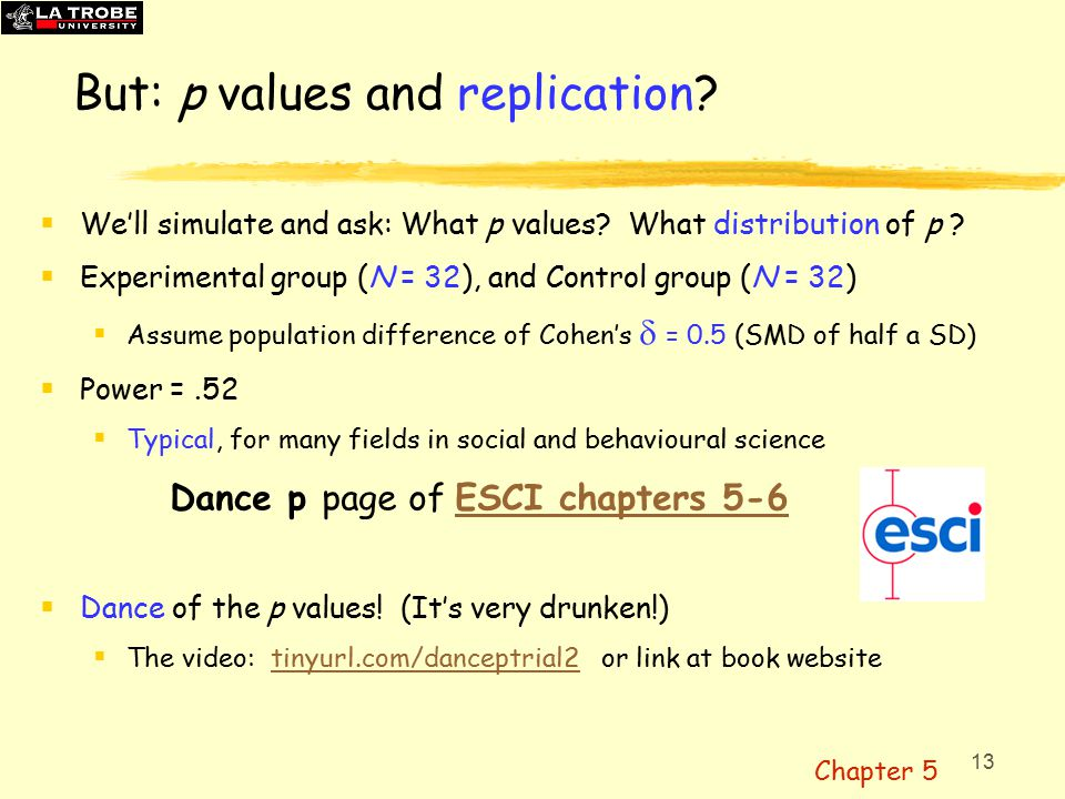 13 But: p values and replication.  We'll simulate and ask: What p values.