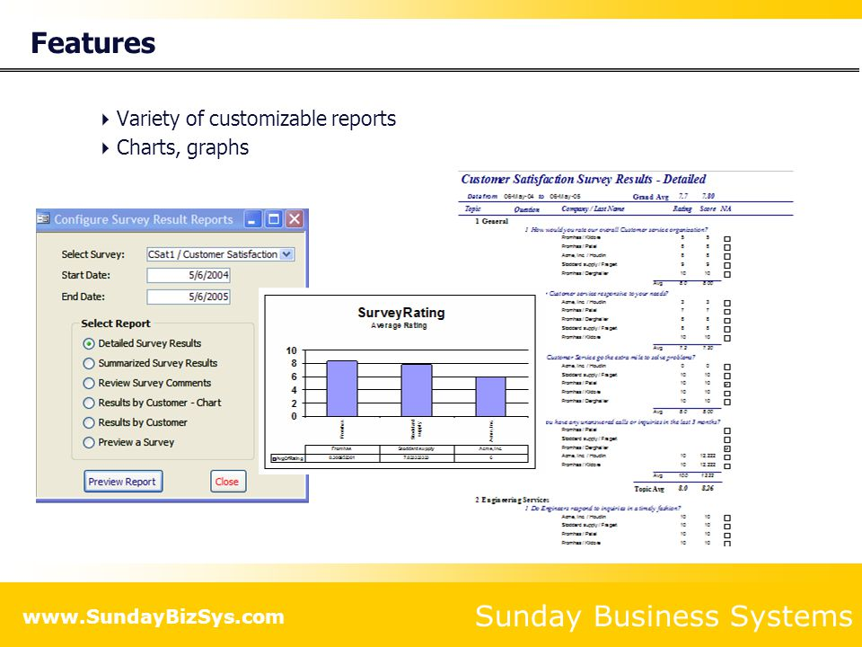 Sunday Business Systems www.SundayBizSys.com Features  Variety of customizable reports  Charts, graphs