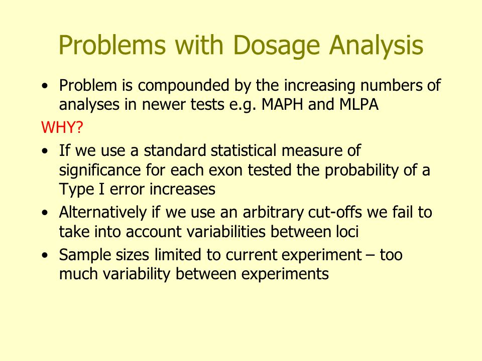 Problems with Dosage Analysis Problem is compounded by the increasing numbers of analyses in newer tests e.g.