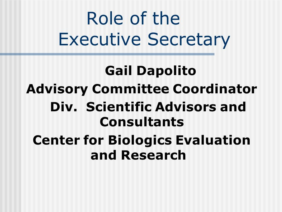 Role of the Executive Secretary Gail Dapolito Advisory Committee Coordinator Div.