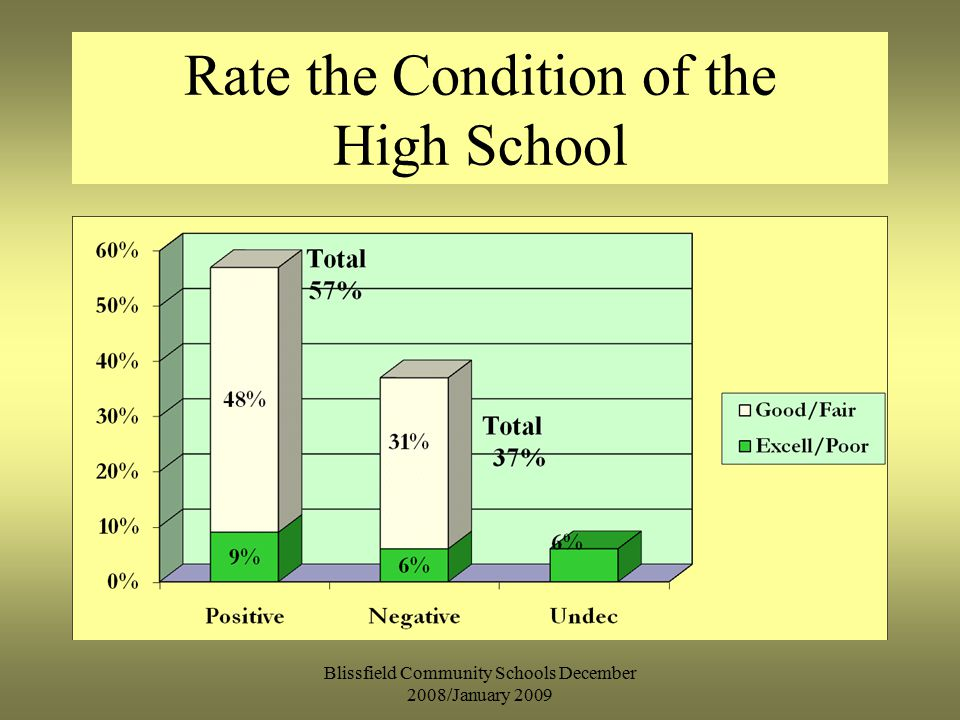 Rate the Condition of the High School Blissfield Community Schools December 2008/January 2009