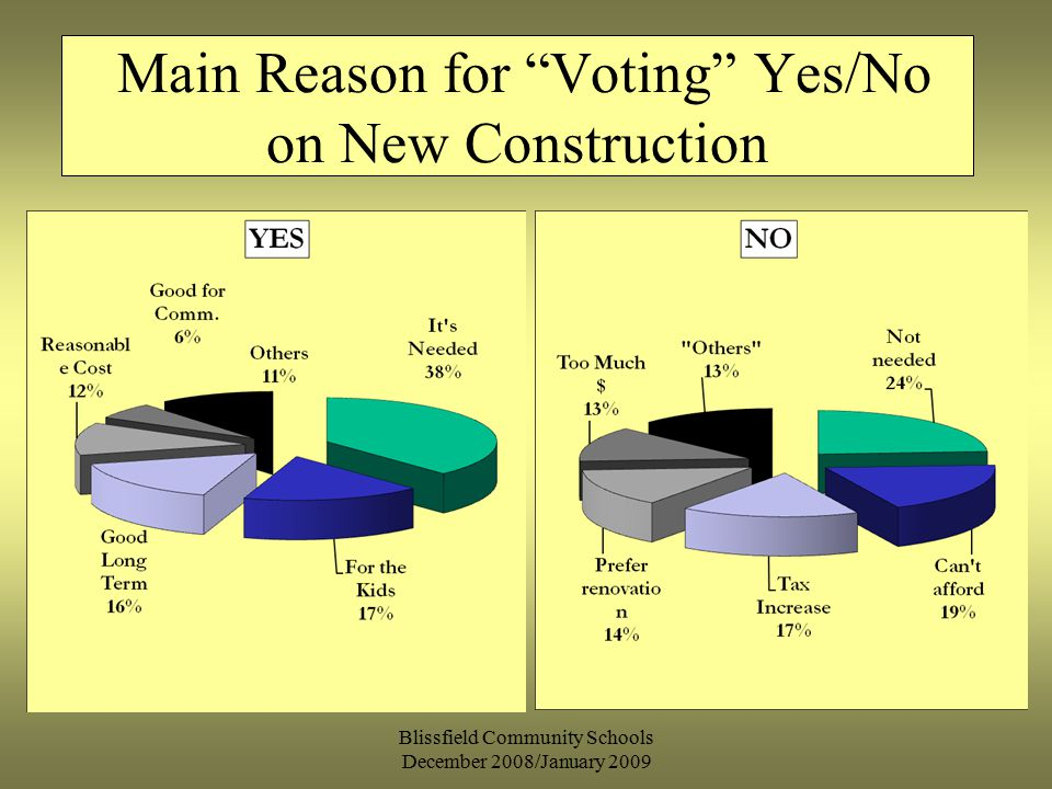 Blissfield Community Schools December 2008/January 2009 Main Reason for Voting Yes/No on New Construction