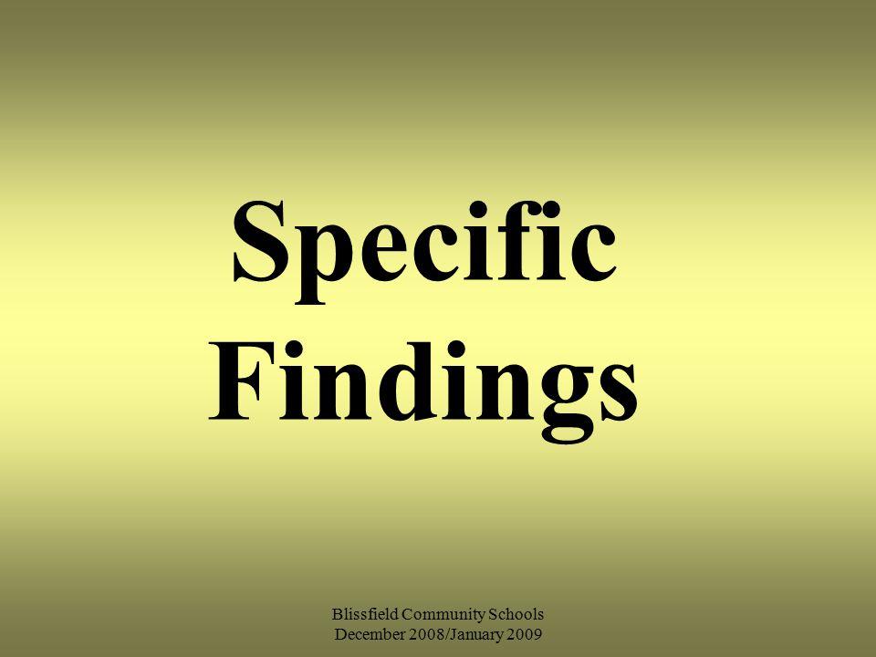 Blissfield Community Schools December 2008/January 2009 Specific Findings