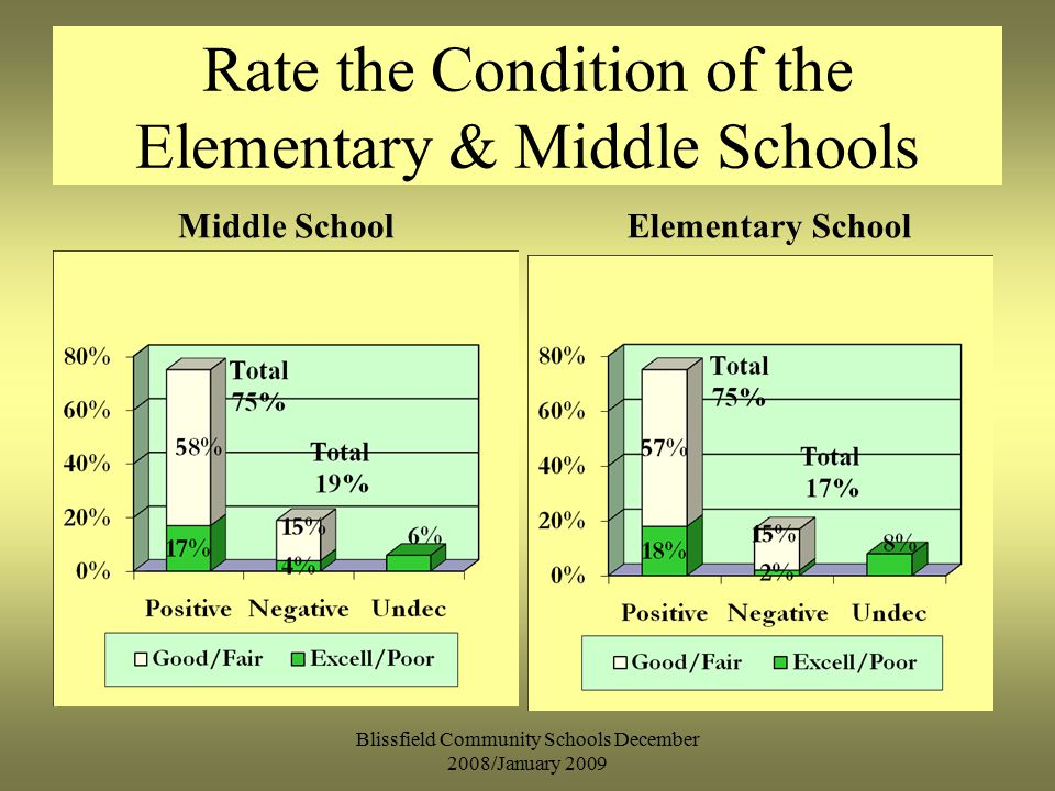 Rate the Condition of the Elementary & Middle Schools Middle SchoolElementary School Blissfield Community Schools December 2008/January 2009