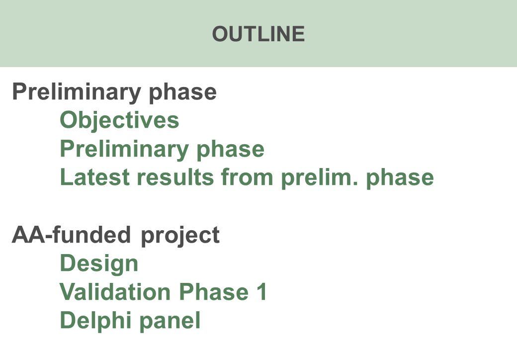 OUTLINE Preliminary phase Objectives Preliminary phase Latest results from prelim.