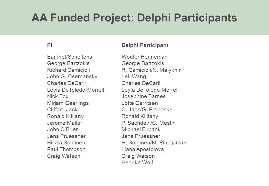 AA Funded Project: Delphi Participants PIDelphi Participant Barkhof/ScheltensWouter HennemanGeorge Bartzokis Richard CamicioliR. Camicioli/N. Malykhin