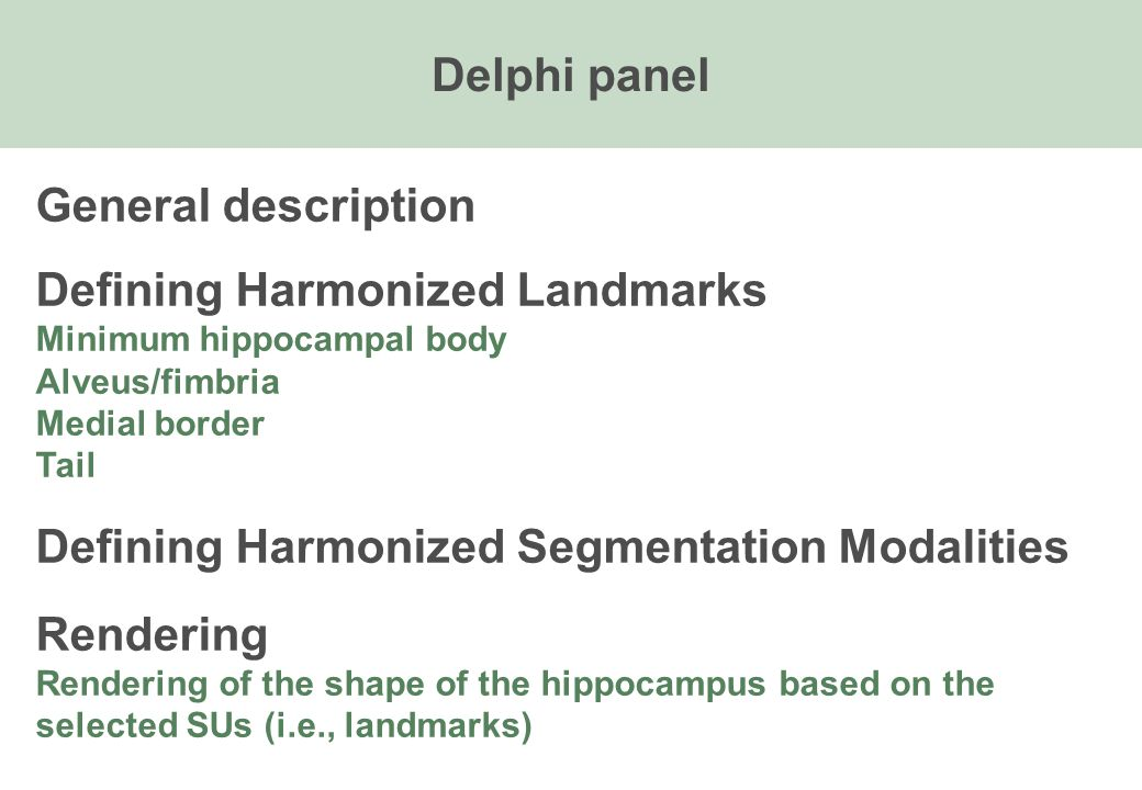 General description Defining Harmonized Landmarks Minimum hippocampal body Alveus/fimbria Medial border Tail Defining Harmonized Segmentation Modalities Rendering Rendering of the shape of the hippocampus based on the selected SUs (i.e., landmarks) Delphi panel