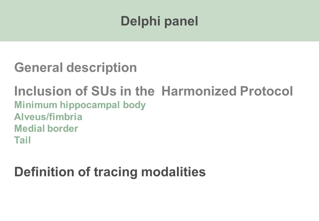 General description Inclusion of SUs in the Harmonized Protocol Minimum hippocampal body Alveus/fimbria Medial border Tail Definition of tracing modalities Delphi panel