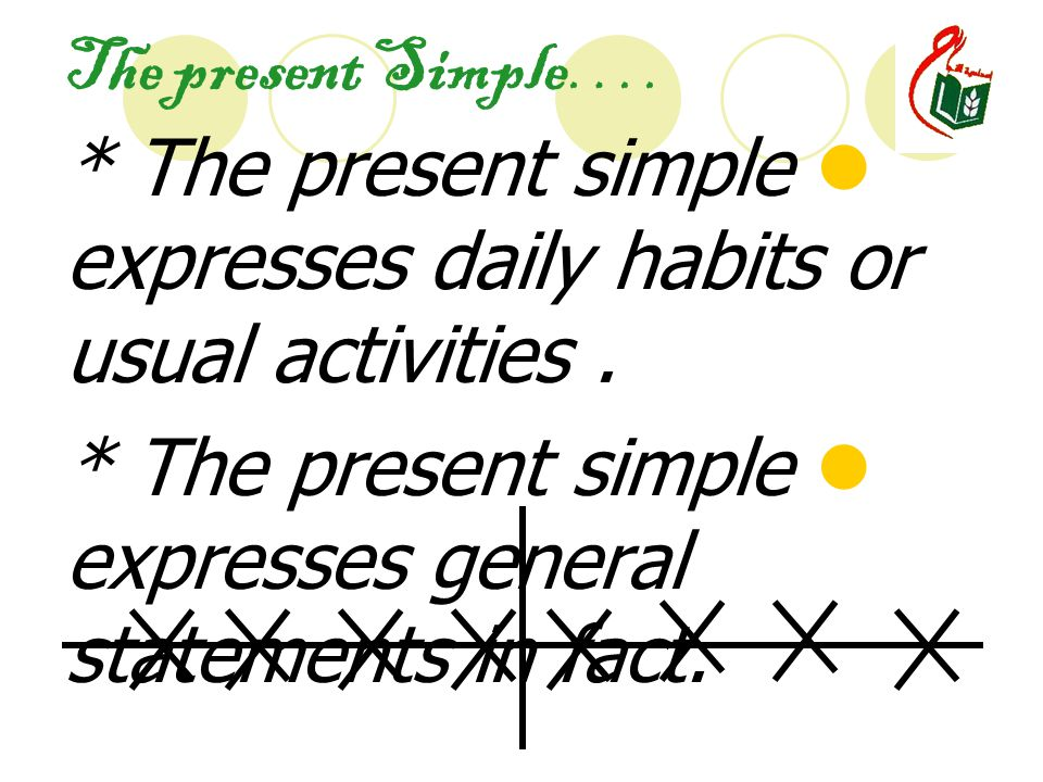 The present Simple…. * The present simple expresses daily habits or usual activities.