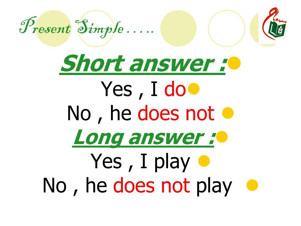 Present Simple …..