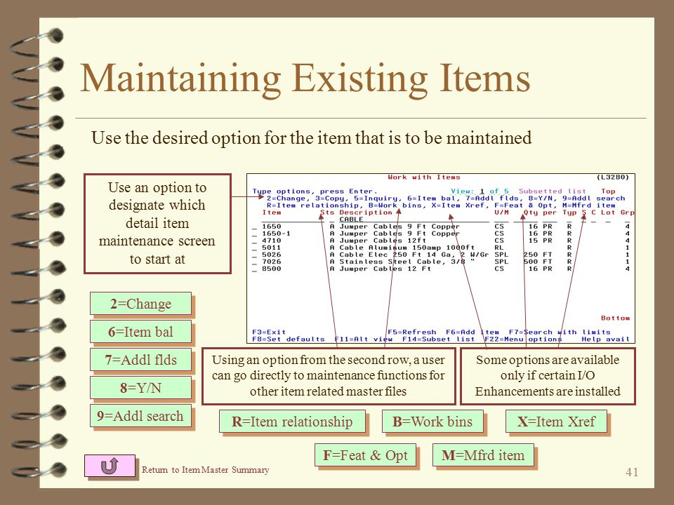 40 Maintaining Existing Items 4 The user selects which item AND which of the detail screens for that item to maintain 4 Once maintaining an item, the user may navigate through ALL details screens for the item if desired (as with the previous DMAS item maintenance)