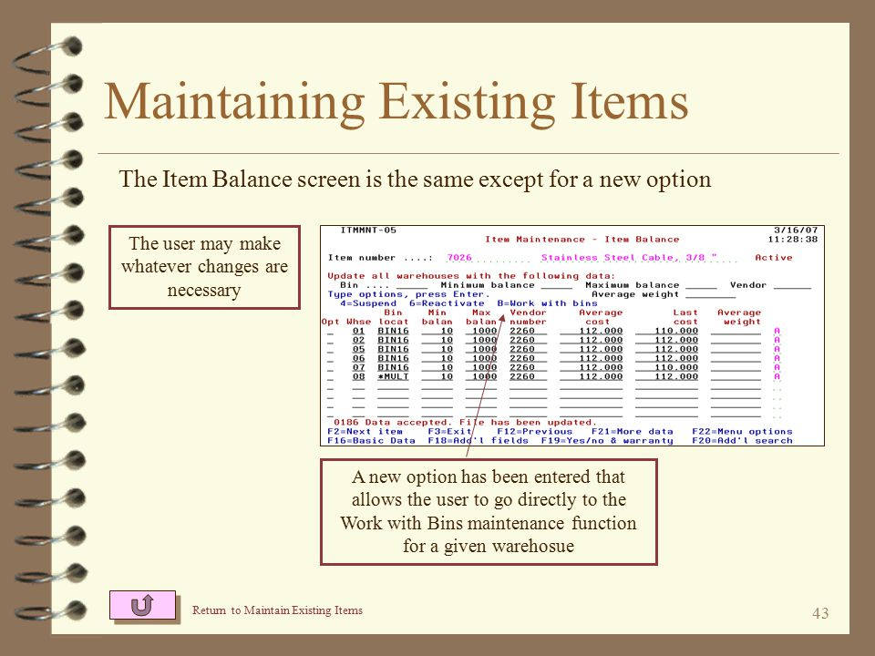 42 Maintaining Existing Items The Basic Data screen has not changed from standard DMAS item maintenance The user may make whatever changes are necessary Return to Maintain Existing Items