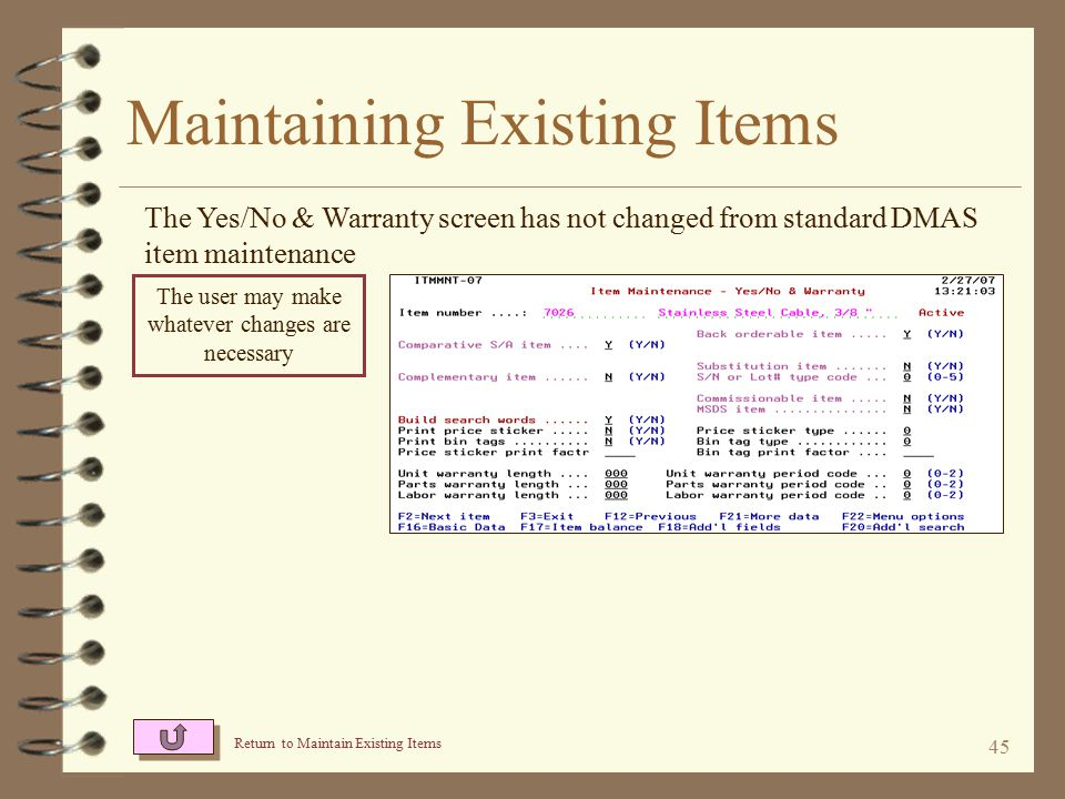44 Maintaining Existing Items The Additional Fields screen has not changed from standard DMAS item maintenance The user may make whatever changes are necessary Return to Maintain Existing Items