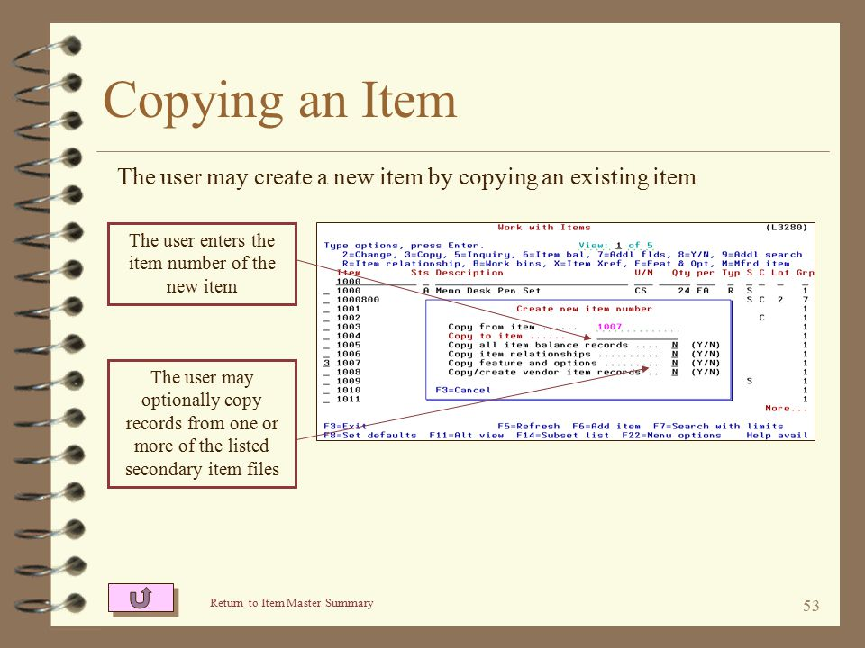 52 Copying an Item 4 A new item may be created by copying an existing item 4 Inventory quantities and sales statistics are not copied 4 The user may optionally also copy –The Item Balance records –Item Relationship records –I/O Feature & Options records –Vendor / Item records