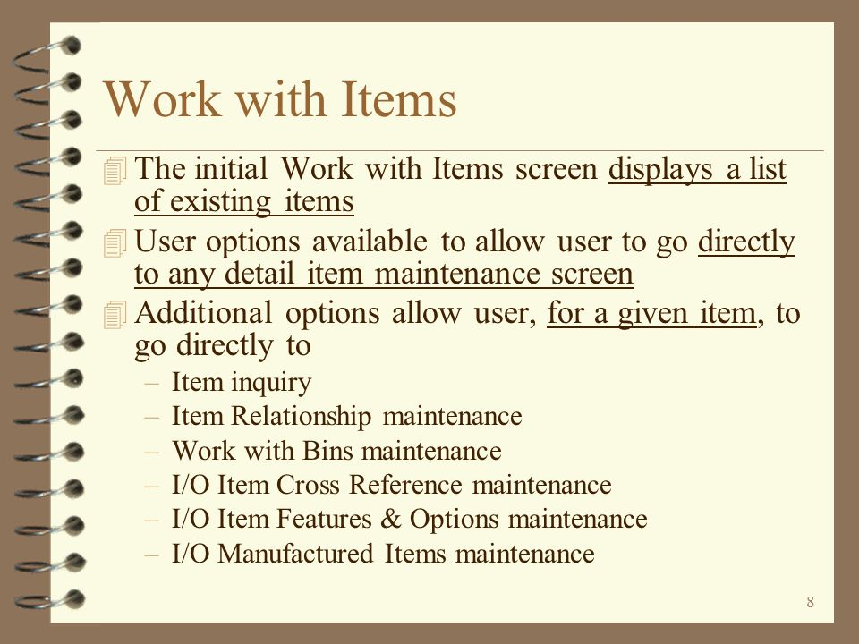 7 Return to Item Master Summary Accessing Item UF Maintenance Item UF maintenance is accessible via any standard DMAS item maintenance menu option The user enters Item UFM by taking any available item maintenance menu option If the command line is available to the user, the UITEM command may also be used.
