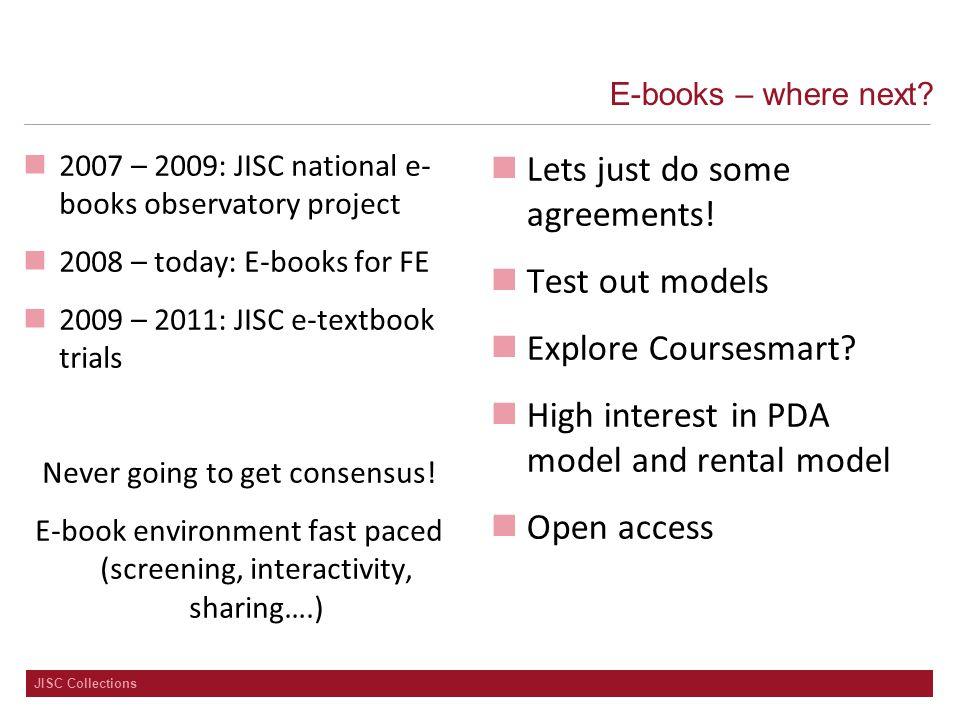 JISC Collections E-books – where next.