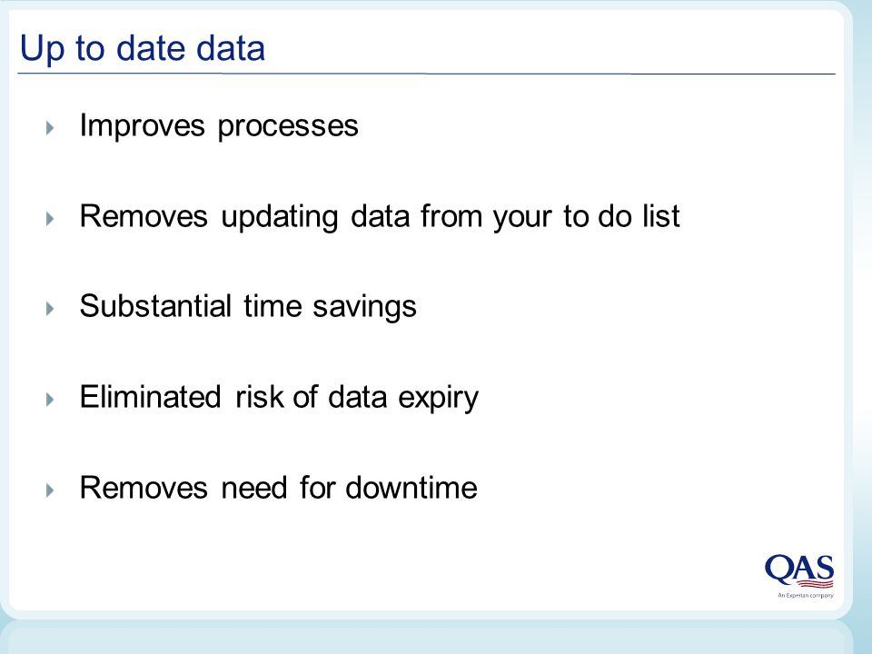 Improves processes Removes updating data from your to do list Substantial time savings Eliminated risk of data expiry Removes need for downtime