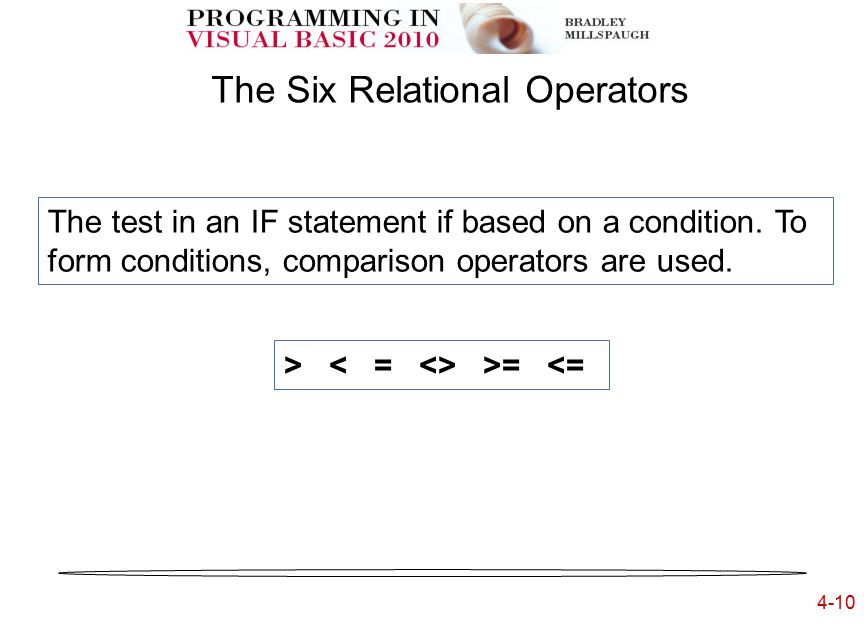 4-10 The Six Relational Operators The test in an IF statement if based on a condition.