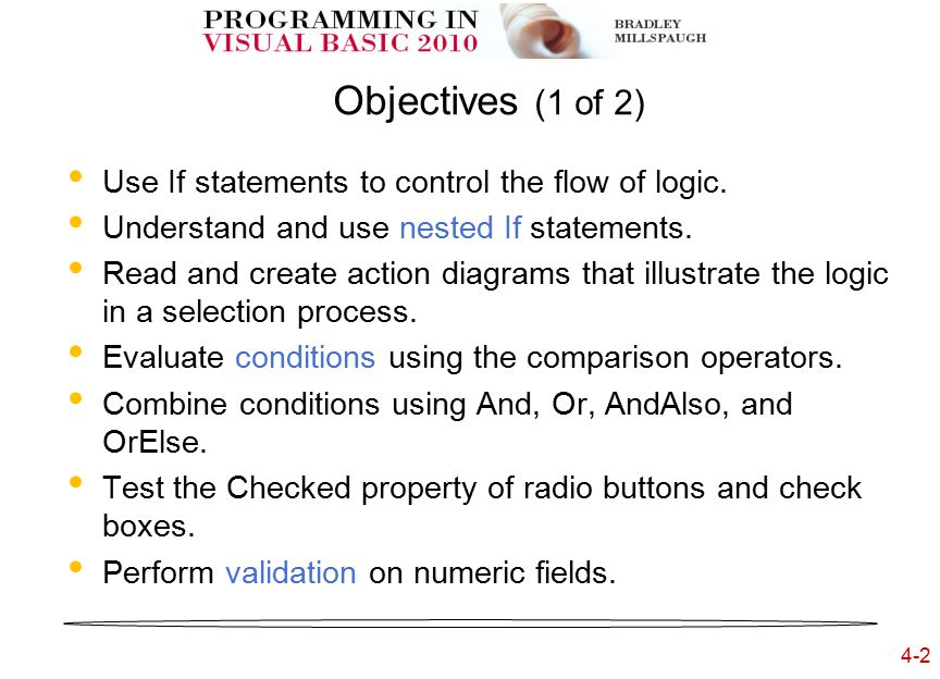4-33 Writing to the Immediate Window Debug.WriteLine(TextString) Debug.WriteLine(Object) Debug.WriteLine( ButtonCalculate procedure entered ) Debug.WriteLine(TextBoxQuantity)