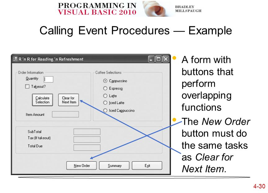 4-30 Calling Event Procedures — Example A form with buttons that perform overlapping functions The New Order button must do the same tasks as Clear for Next Item.