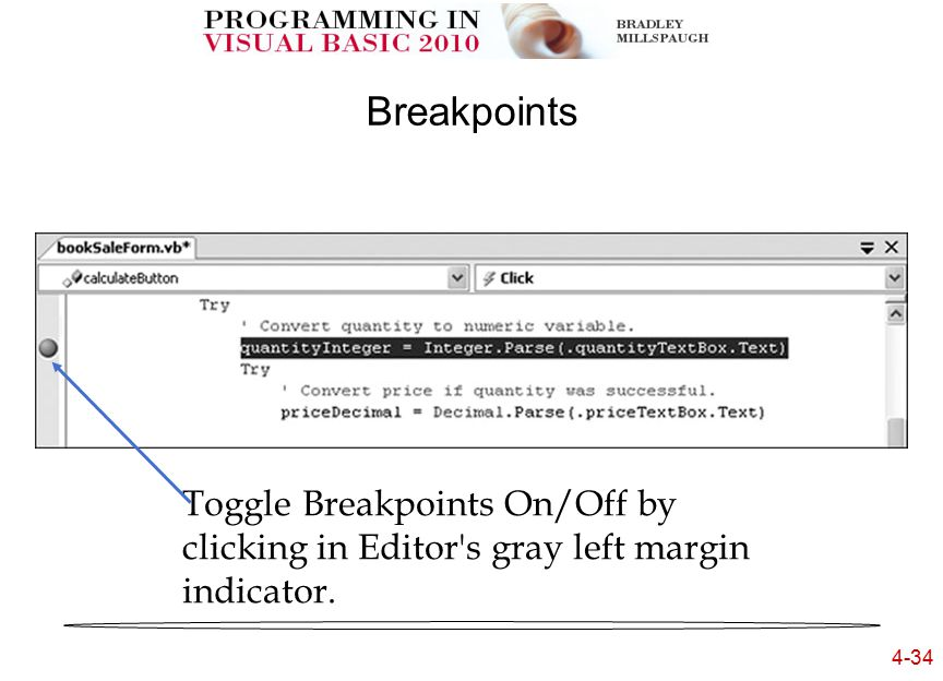 4-34 Breakpoints Toggle Breakpoints On/Off by clicking in Editor s gray left margin indicator.