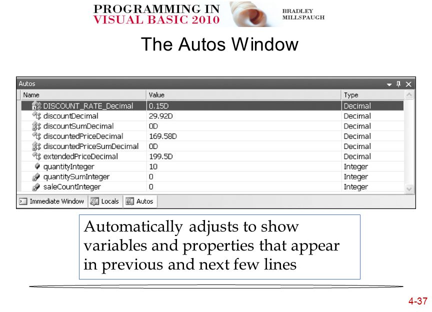 4-37 The Autos Window Automatically adjusts to show variables and properties that appear in previous and next few lines