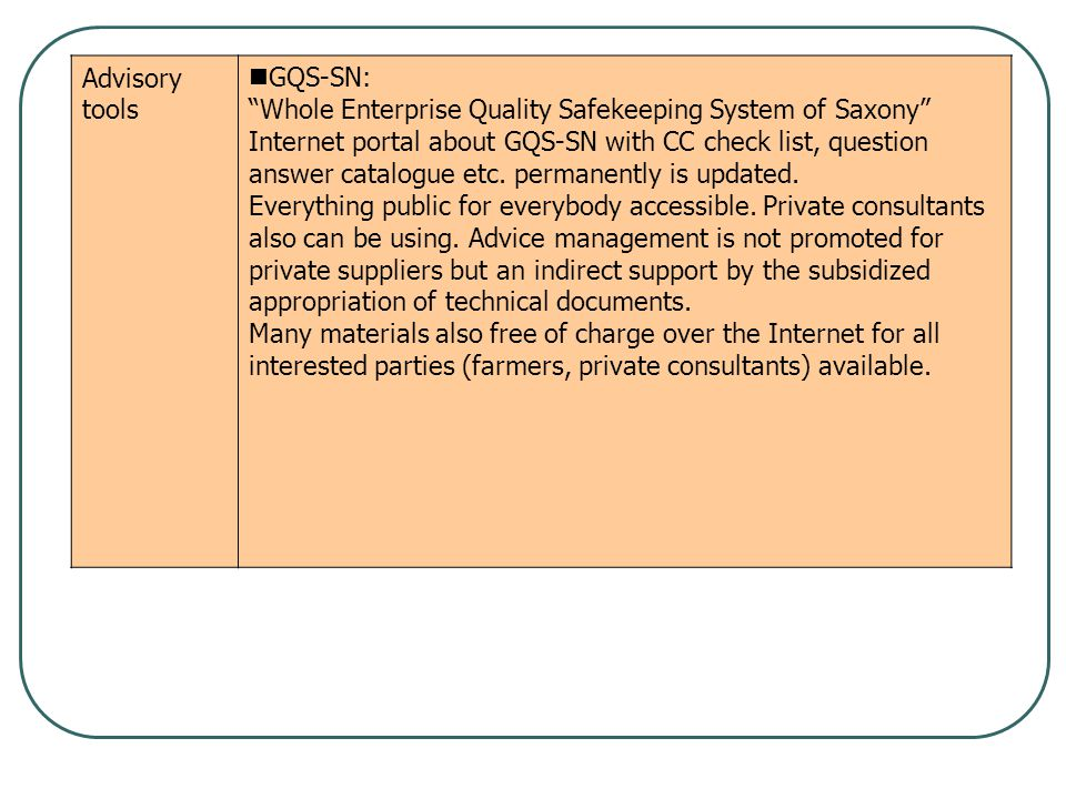 "Advisory tools GQS-SN: ""Whole Enterprise Quality Safekeeping System of Saxony"" Internet portal about GQS-SN with CC check list, question answer catalo"