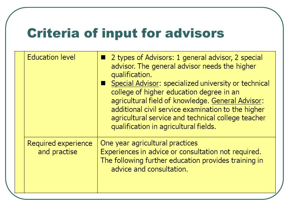 Criteria of input for advisors Education level 2 types of Advisors: 1 general advisor, 2 special advisor. The general advisor needs the higher qualifi