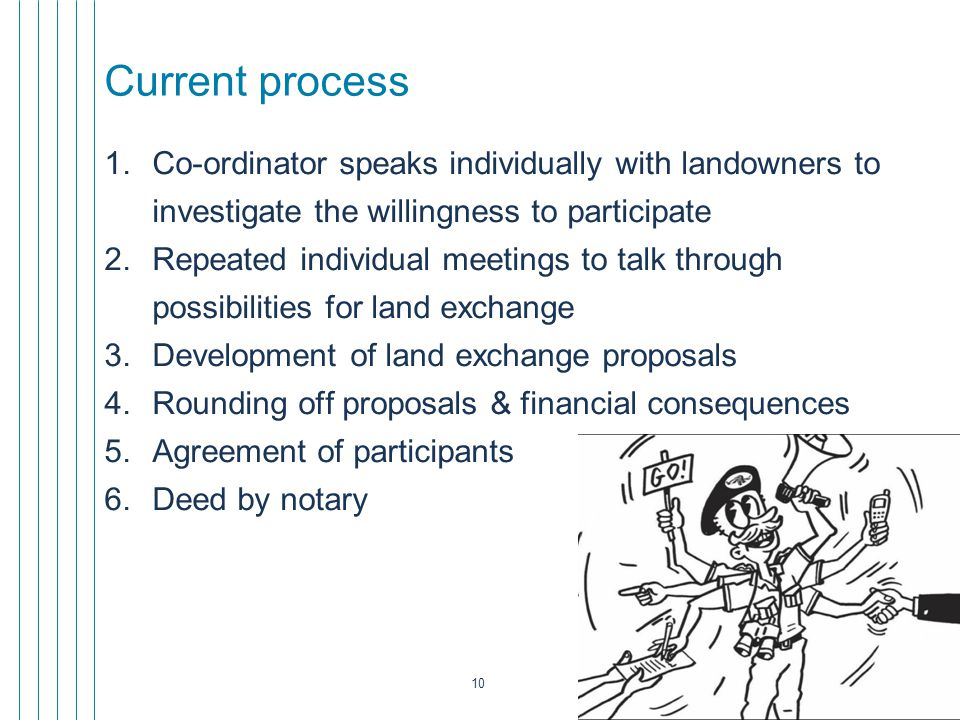 10 Current process 1.Co-ordinator speaks individually with landowners to investigate the willingness to participate 2.Repeated individual meetings to talk through possibilities for land exchange 3.Development of land exchange proposals 4.Rounding off proposals & financial consequences 5.Agreement of participants 6.Deed by notary