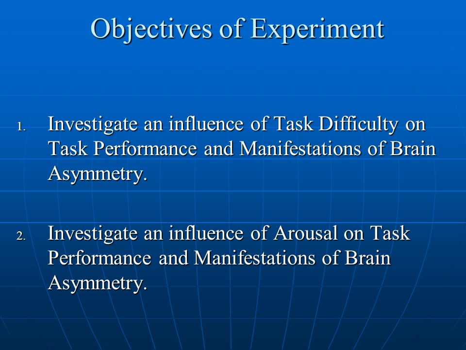 Objectives of Experiment 1.