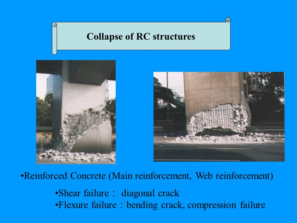 Collapse of RC structures Reinforced Concrete (Main reinforcement, Web reinforcement) Shear failure : diagonal crack Flexure failure : bending crack, compression failure