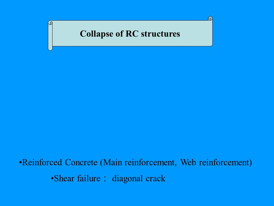 Collapse of RC structures Reinforced Concrete (Main reinforcement, Web reinforcement) Shear failure : diagonal crack