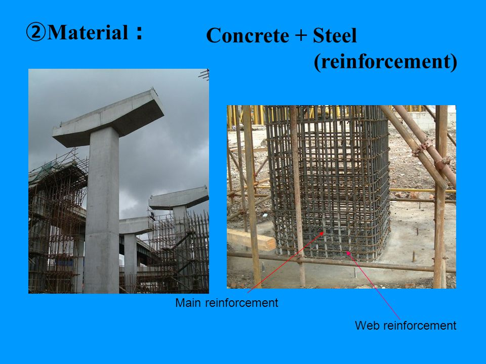 ② Material : Concrete + Steel (reinforcement) Main reinforcement Web reinforcement