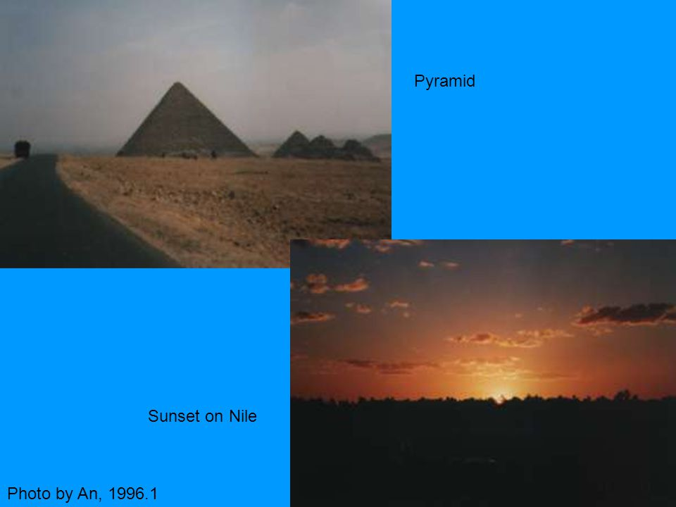 Pyramid Sunset on Nile Photo by An, 1996.1