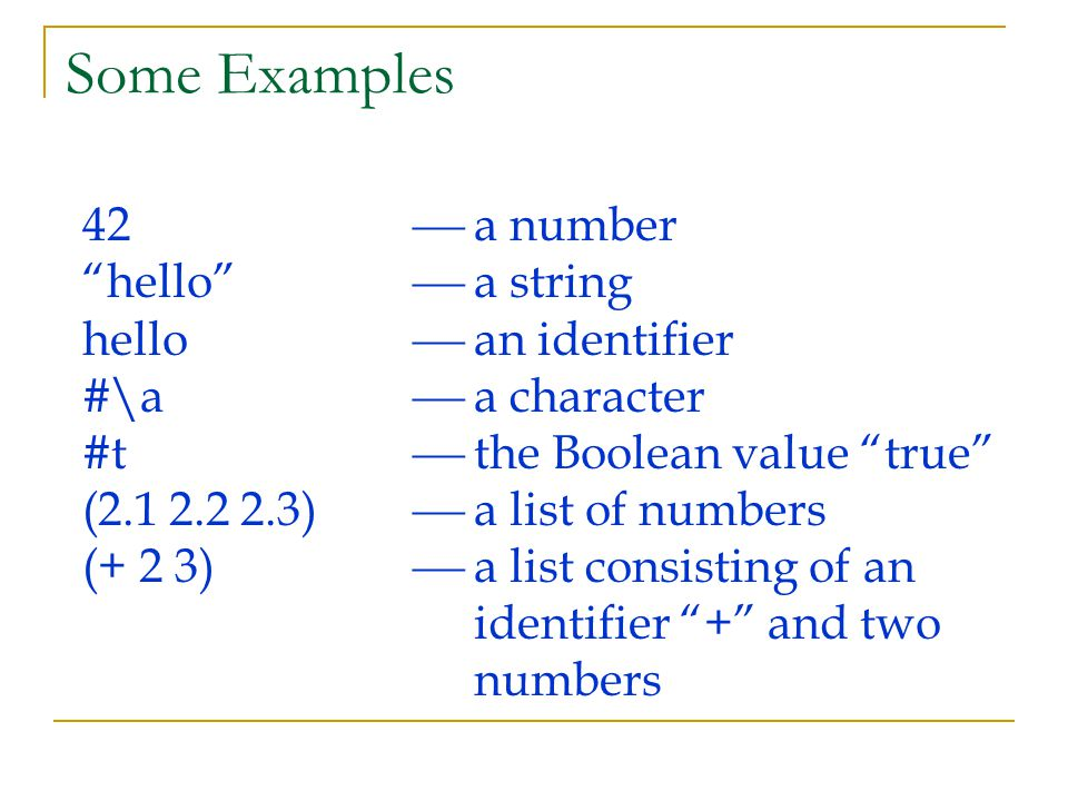 Some Examples 42  a number hello  a string hello  an identifier #\a  a character #t  the Boolean value true (2.1 2.2 2.3)  a list of numbers (+ 2 3)  a list consisting of an identifier + and two numbers