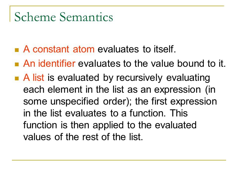 Scheme Semantics A constant atom evaluates to itself.