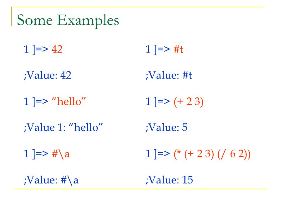 "Some Examples 1 ]=> 42 ;Value: 42 1 ]=> ""hello"" ;Value 1: ""hello"" 1 ]=> #\a ;Value: #\a 1 ]=> #t ;Value: #t 1 ]=> (+ 2 3) ;Value: 5 1 ]=> (* (+ 2 3) ("