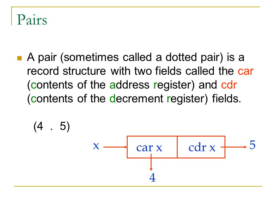 Pairs A pair (sometimes called a dotted pair) is a record structure with two fields called the car (contents of the address register) and cdr (content