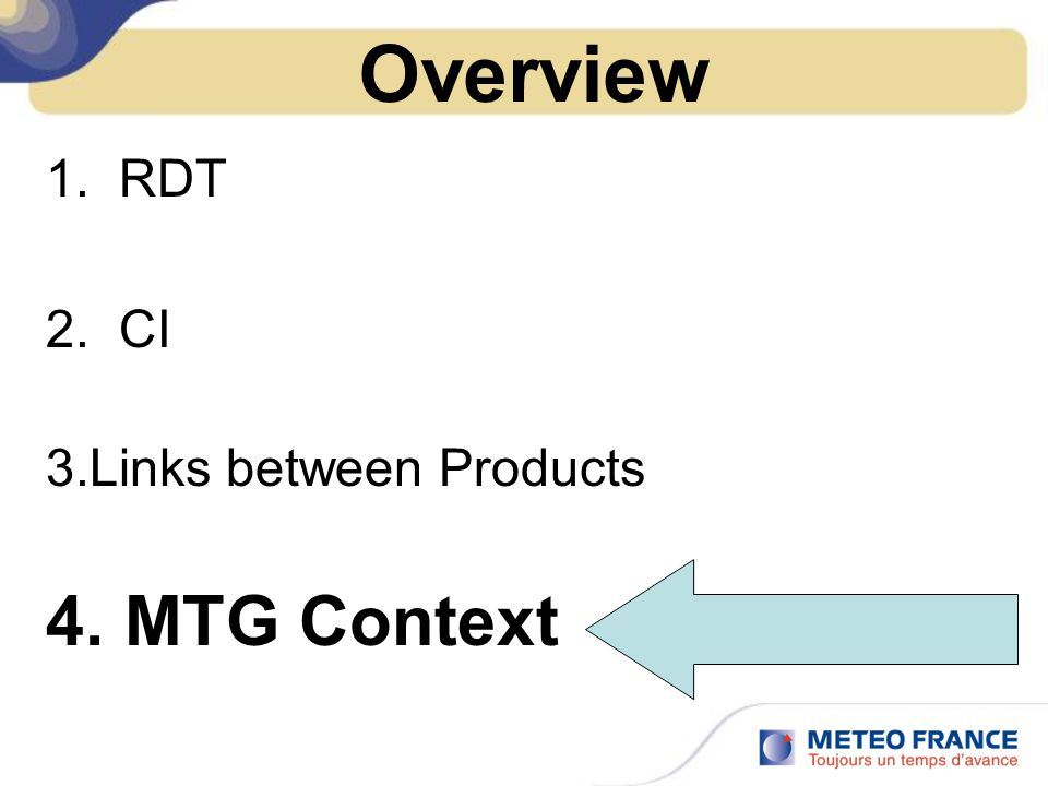 Overview 1. RDT 2. CI 3.Links between Products 4. MTG Context