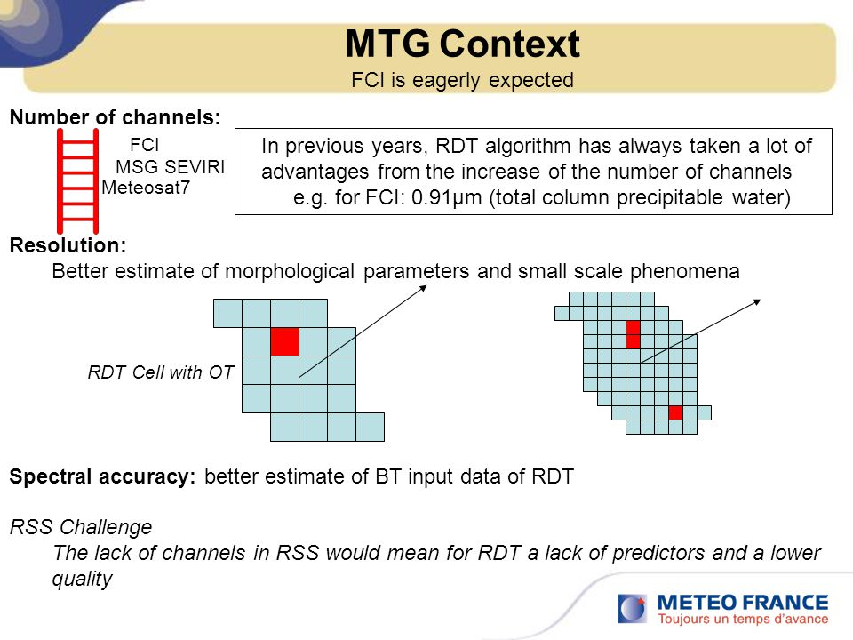 MTG Context FCI is eagerly expected Number of channels: Resolution: Better estimate of morphological parameters and small scale phenomena Spectral accuracy: better estimate of BT input data of RDT RSS Challenge The lack of channels in RSS would mean for RDT a lack of predictors and a lower quality FCI MSG SEVIRI Meteosat7 In previous years, RDT algorithm has always taken a lot of advantages from the increase of the number of channels e.g.
