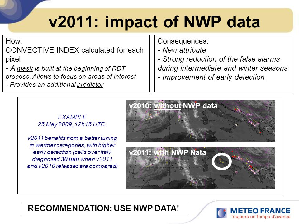 v2011: impact of NWP data How: CONVECTIVE INDEX calculated for each pixel - A mask is built at the beginning of RDT process.